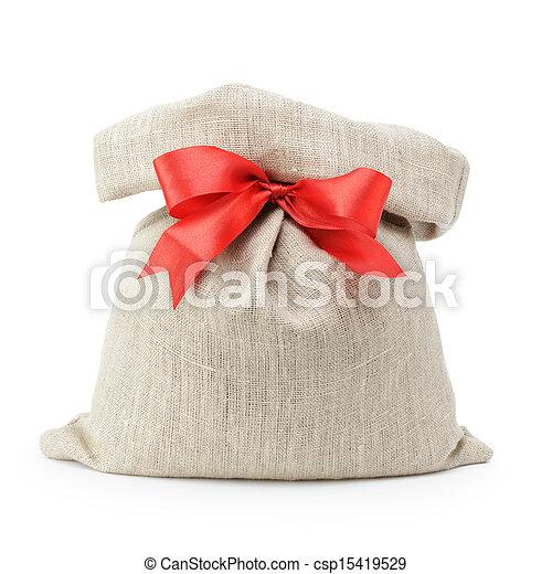 sack gift bag with ribbon bow - csp15419529