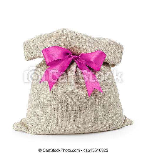 sack gift bag with ribbon bow - csp15516323