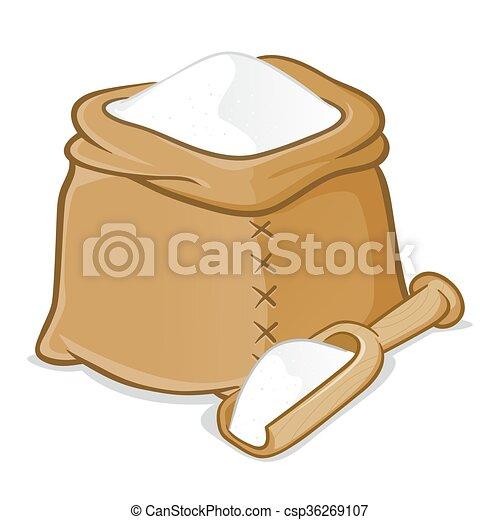 Sack of Flour With Wooden Scoop - csp36269107