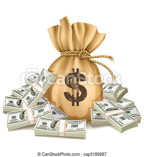 sack with packs of dollars money - csp3189267