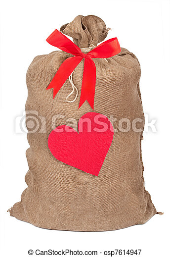 Sack with red heart - csp7614947