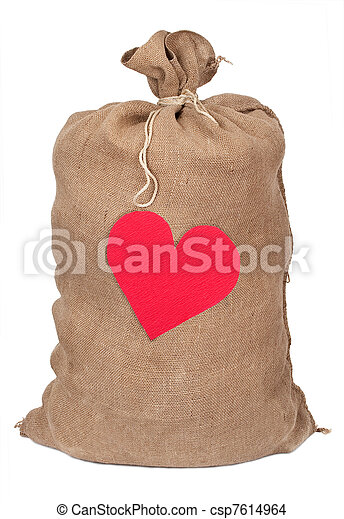 Sack with red heart - csp7614964