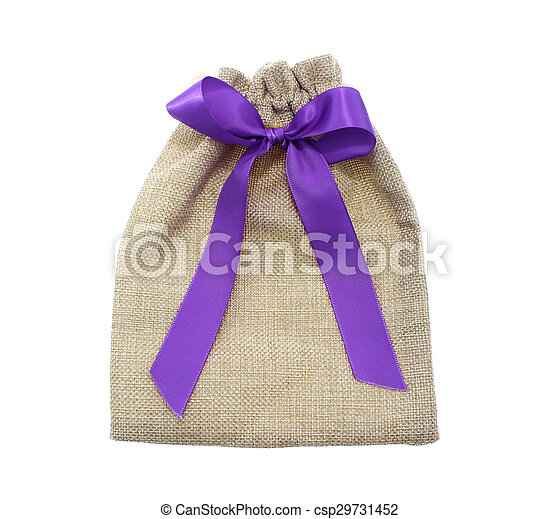 Sack with red ribbon and bow - csp29731452