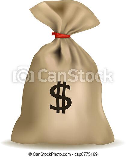 saco dinheiro, vector., dólares. - csp6775169