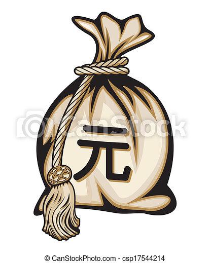saco, sinal, dinheiro, iene - csp17544214