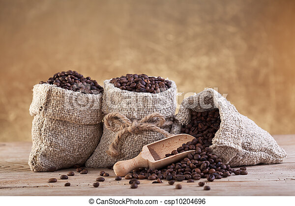sacolas, café, burlap, assado - csp10204696