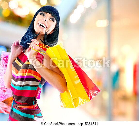 sacolas, centro comercial, shopping mulher, beleza - csp15361841