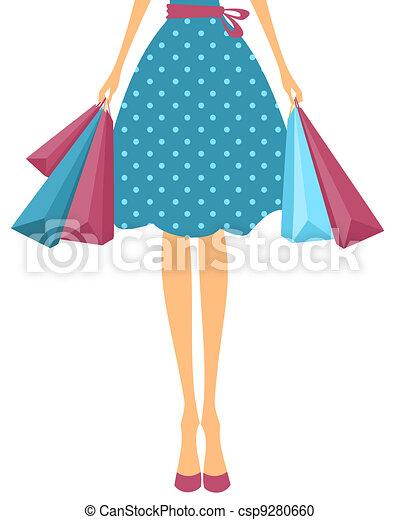sacolas, menina, shopping - csp9280660