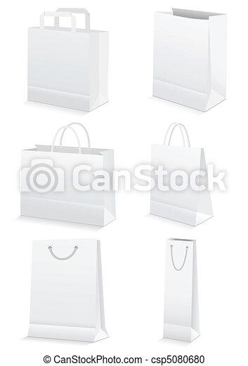 sacolas, shopping mantimento, &, papel, em branco - csp5080680