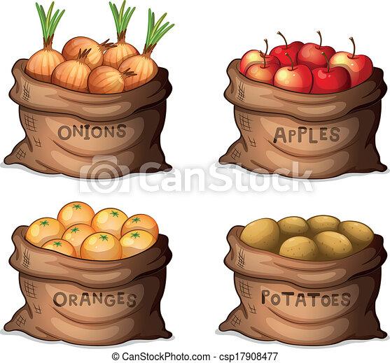 sacos, colheitas, frutas - csp17908477