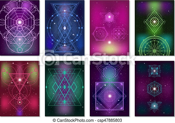 sacré, géométrie, bannières, collection, coloré - csp47885803