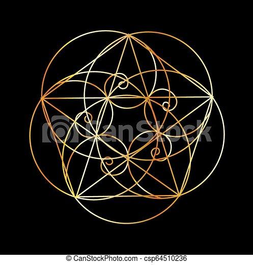 sacré, spiral-, géométrie, fibonacci - csp64510236