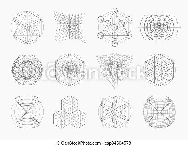 sacré, symboles, géométrie, éléments, set. - csp34504578