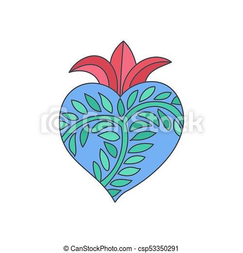 sacré, vecteur, griffonnage, coeur, icône - csp53350291