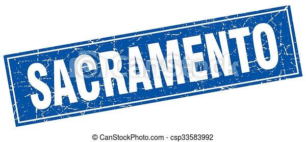 Sacramento blue square grunge vintage isolated stamp - csp33583992