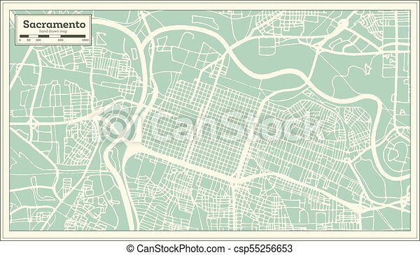 Sacramento California USA City Map in Retro Style. Outline Map. on lancaster map outline, chico map outline, inglewood map outline, fullerton map outline, san francisco map outline, washington and oregon map outline, usa map outline, inyo county map outline, avalon map outline,