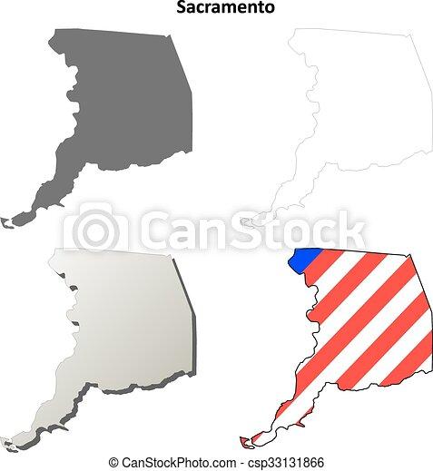 Sacramento County California Outline Map Set