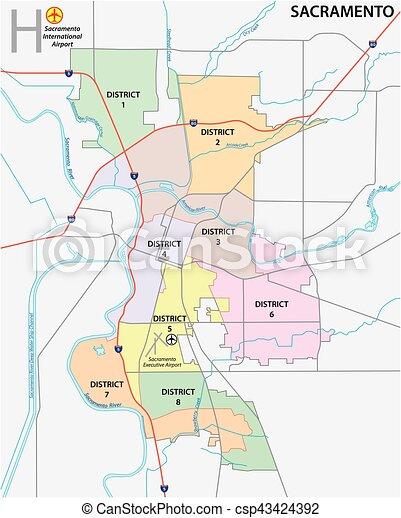 Sacramento district administrative and political map - csp43424392