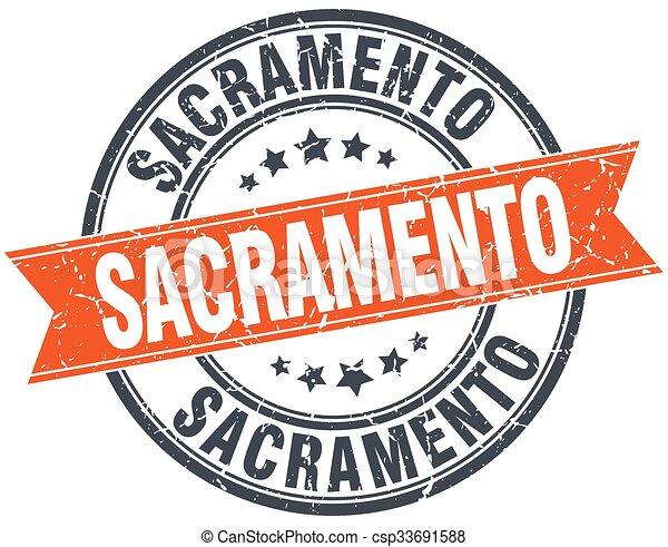 Sacramento red round grunge vintage ribbon stamp - csp33691588