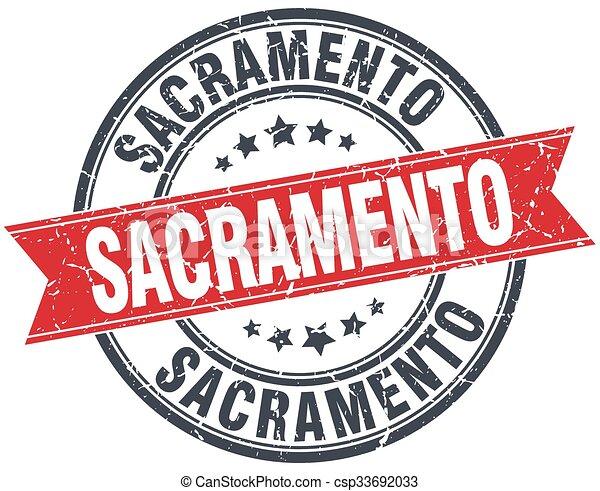 Sacramento red round grunge vintage ribbon stamp - csp33692033