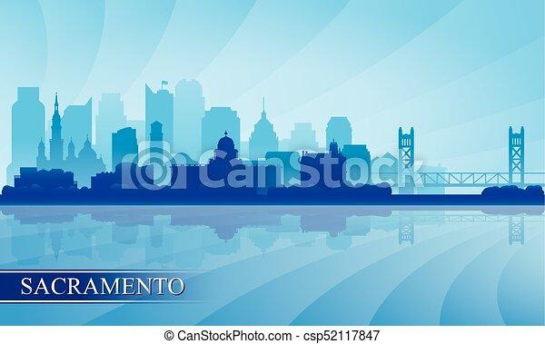 sacramento, silhouette horizon, fond, ville - csp52117847
