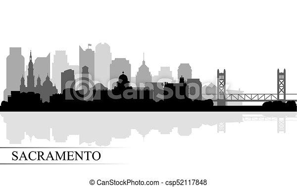 Sacramento City skyline silueta fondo - csp52117848