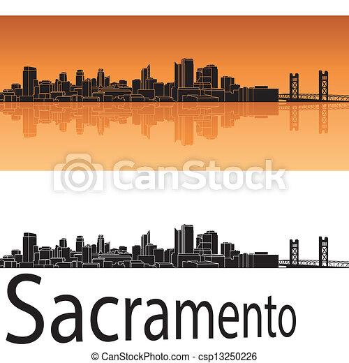 Sacramento skyline in orange background - csp13250226