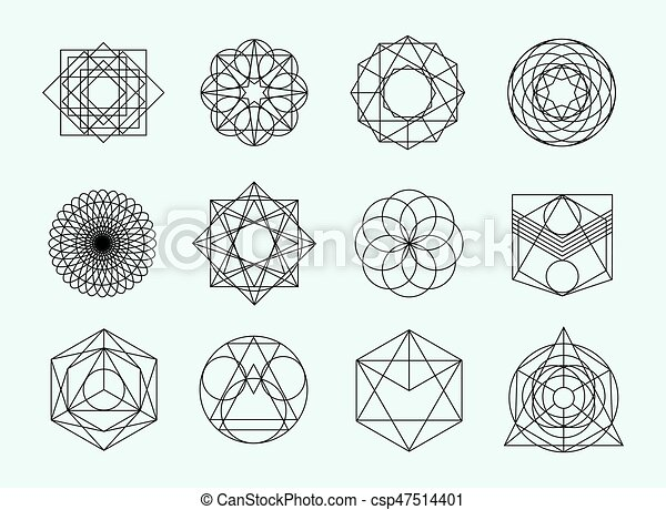 Sacred geometry symbols collection  set of hipster, abstract, alchemy,  spiritual, mystic elements on white background