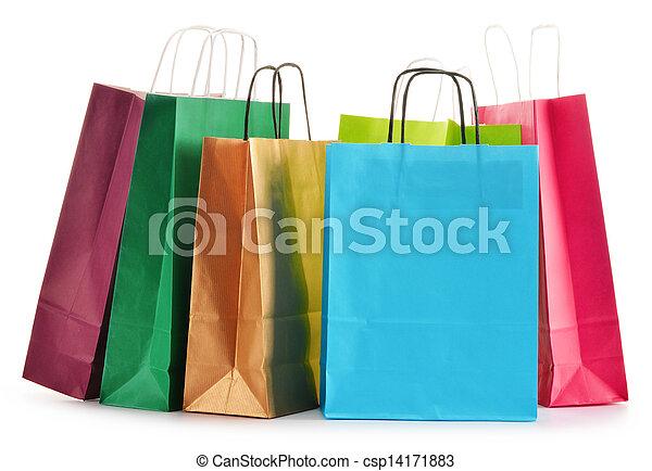 sacs, achats, isolé, papier, fond, blanc - csp14171883