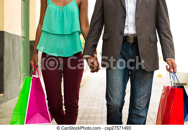 sacs, achats, ville, couple, américain, africaine, panama - csp27571493