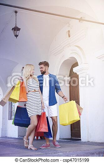 sacs, couple, rue, achats, ville - csp47015199