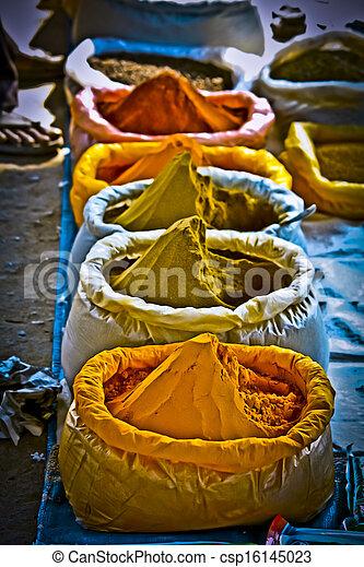 sacs, marché, inde, pradesh, arunachal, épices - csp16145023