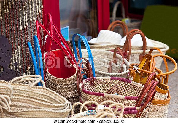 sacs, osier, fait main, francais, femme, marché