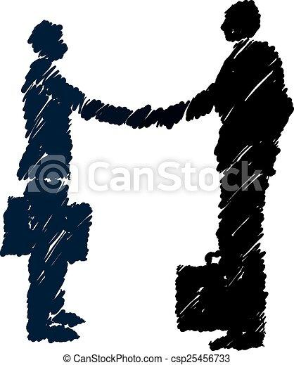 Negocios, hombres de negocios estrechando la mano - csp25456733