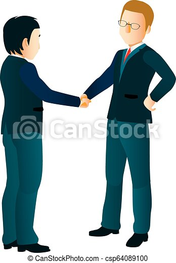 Hombres de negocios estrechando la mano - csp64089100