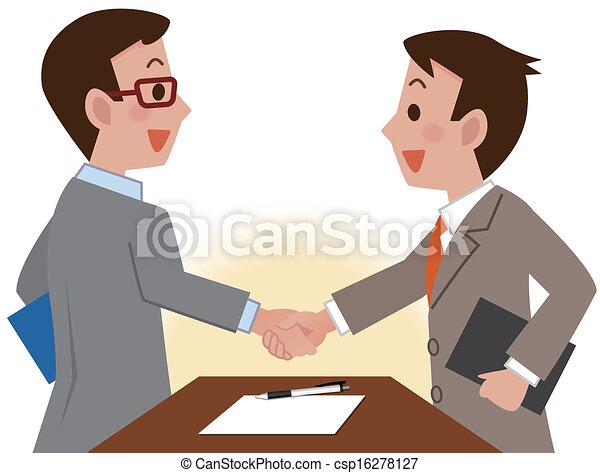 Los hombres de negocios dan la mano - csp16278127