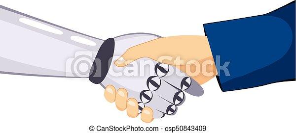 Darle la mano a un robot humano - csp50843409