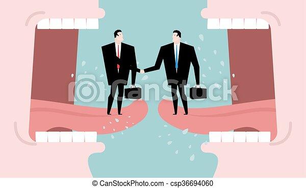 Negociaciones y diálogo. Negocios de transacción. Es una promesa entre dos fiestas de negocios. Acuerdo de abuso. Dos hombres estrechando la mano. Grito de boca abierta. Gente de comunicación - csp36694060