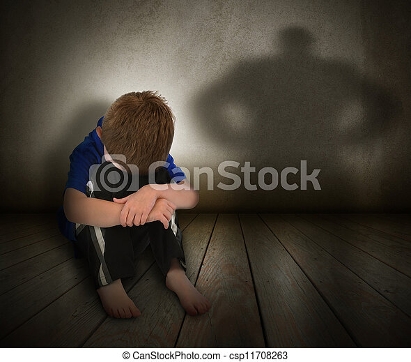 Sad Abused Boy with Anger Shadow - csp11708263