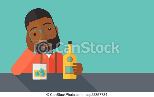 Sad african man alone in the bar drinking beer csp28357734