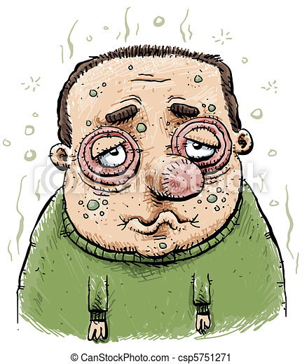 sad and sick man a man swollen from illness clipart search rh canstockphoto com sick old man clipart sick man clipart