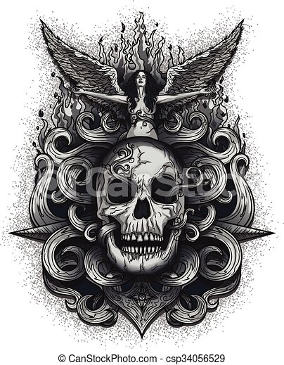 Sad Angel with open arms over Skull - csp34056529