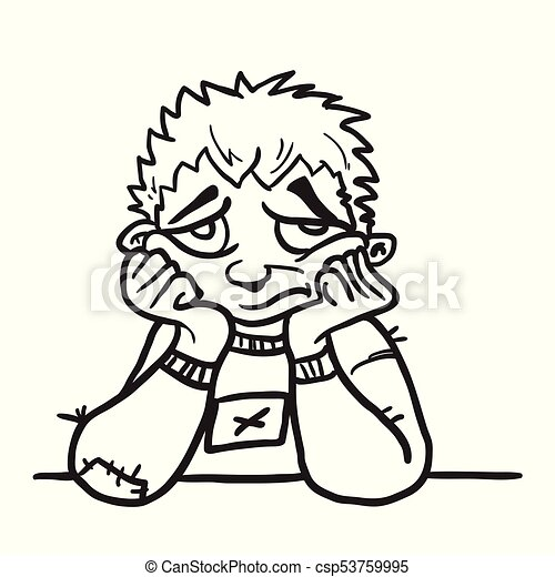 Sad Boy Black Eps Sad Boy Sitting At A Table Cartoon Illustration