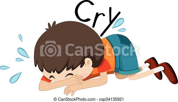 sad boy crying alone illustration vector illustration search rh canstockphoto com sad boy face clipart sad boy face clipart