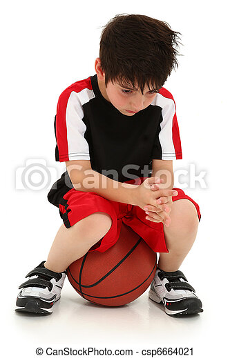 Sad Boy Lost Basketball Game - csp6664021