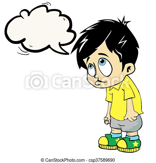 sad boy with speech bubble - csp37589690