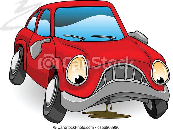 Sad broken down cartoon car - csp6903996
