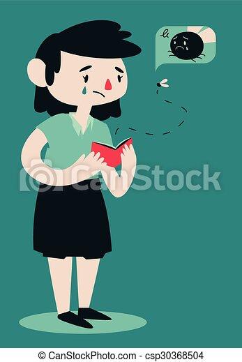Sad Broken Woman Opening Wallet - csp30368504
