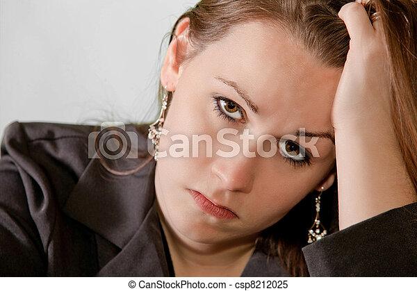 Sad brunette woman - csp8212025