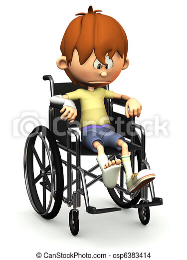 Sad cartoon boy in wheelchair. - csp6383414